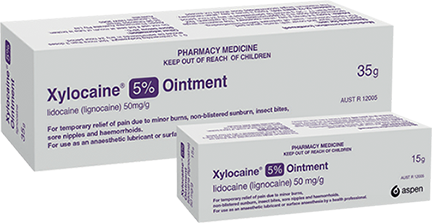 Pack shot of Xylocaine 5% Ointment, in 35g and 15g sizes.